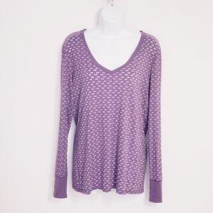 Roxy Purple V-neck Long Sleeve T-shirt XL
